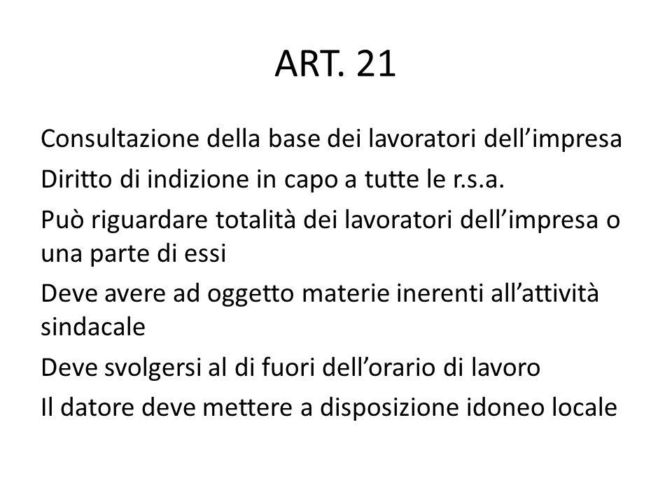 ART. 21 Consultazione della base dei lavoratori dellimpresa Diritto di indizione in capo a tutte le r.s.a. Può riguardare totalità dei lavoratori dell