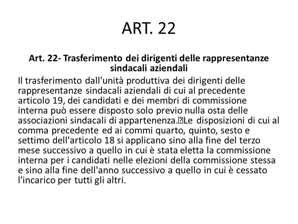 ART. 22 Art. 22- Trasferimento dei dirigenti delle rappresentanze sindacali aziendali Il trasferimento dall'unità produttiva dei dirigenti delle rappr