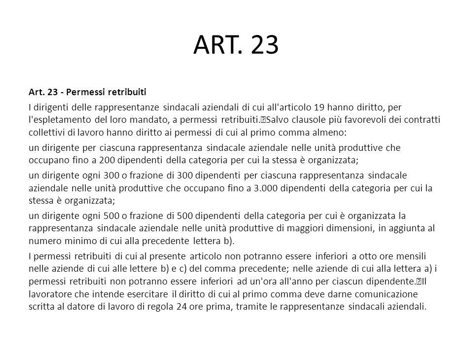 ART. 23 Art. 23 - Permessi retribuiti I dirigenti delle rappresentanze sindacali aziendali di cui all'articolo 19 hanno diritto, per l'espletamento de