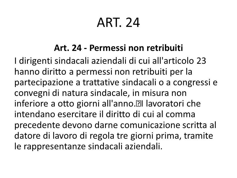 ART. 24 Art. 24 - Permessi non retribuiti I dirigenti sindacali aziendali di cui all'articolo 23 hanno diritto a permessi non retribuiti per la partec