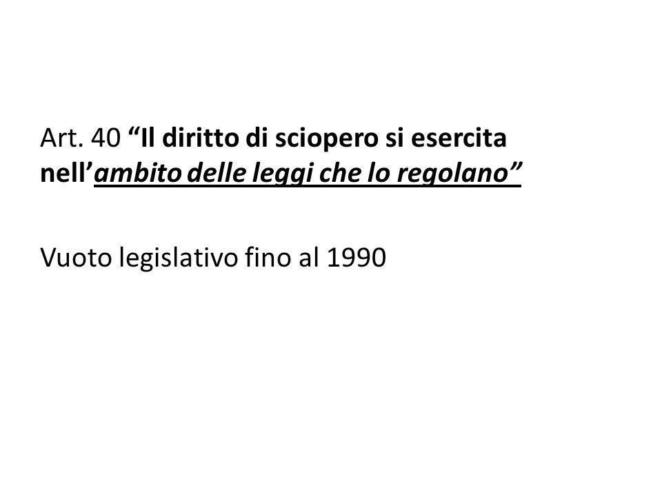 Art. 40 Il diritto di sciopero si esercita nellambito delle leggi che lo regolano Vuoto legislativo fino al 1990
