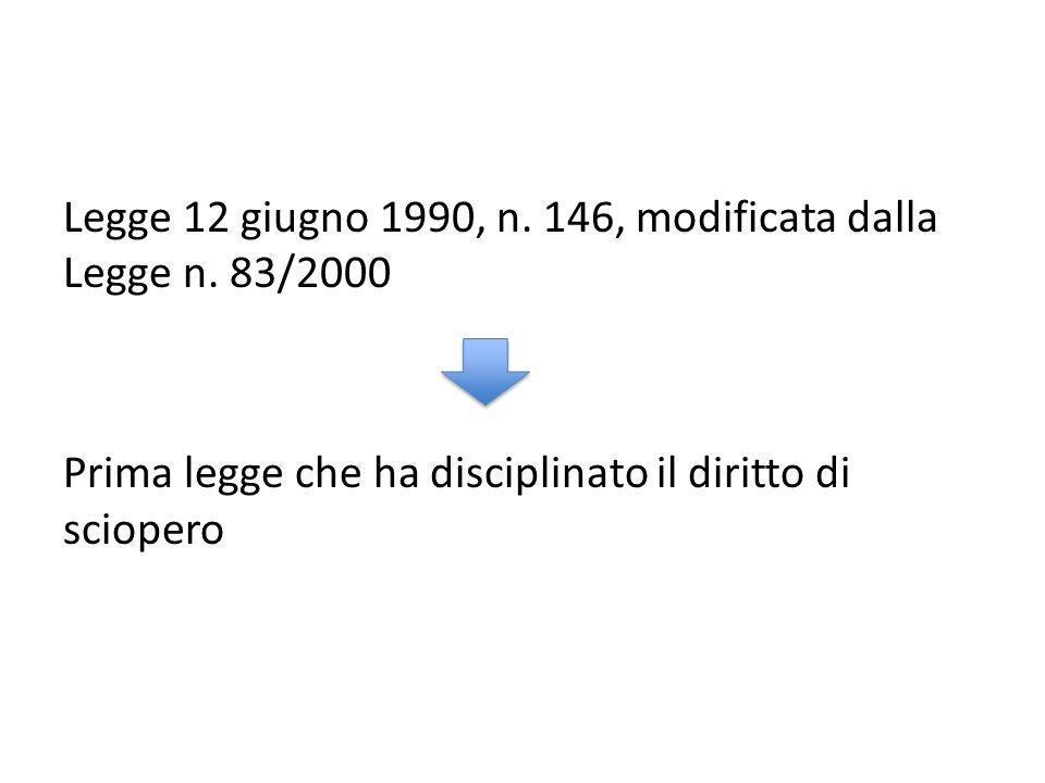 Legge 12 giugno 1990, n. 146, modificata dalla Legge n. 83/2000 Prima legge che ha disciplinato il diritto di sciopero