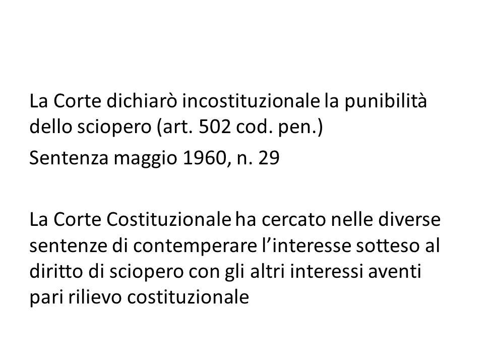 La Corte dichiarò incostituzionale la punibilità dello sciopero (art. 502 cod. pen.) Sentenza maggio 1960, n. 29 La Corte Costituzionale ha cercato ne
