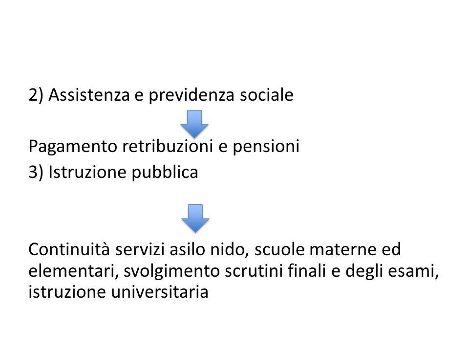 2) Assistenza e previdenza sociale Pagamento retribuzioni e pensioni 3) Istruzione pubblica Continuità servizi asilo nido, scuole materne ed elementar