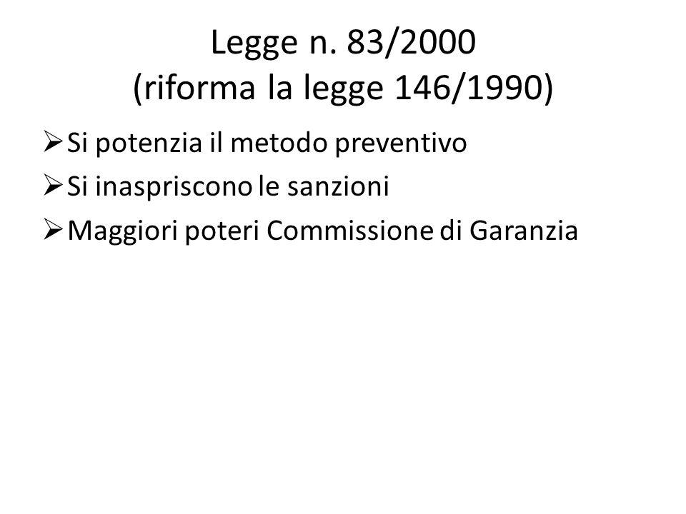 Legge n. 83/2000 (riforma la legge 146/1990) Si potenzia il metodo preventivo Si inaspriscono le sanzioni Maggiori poteri Commissione di Garanzia