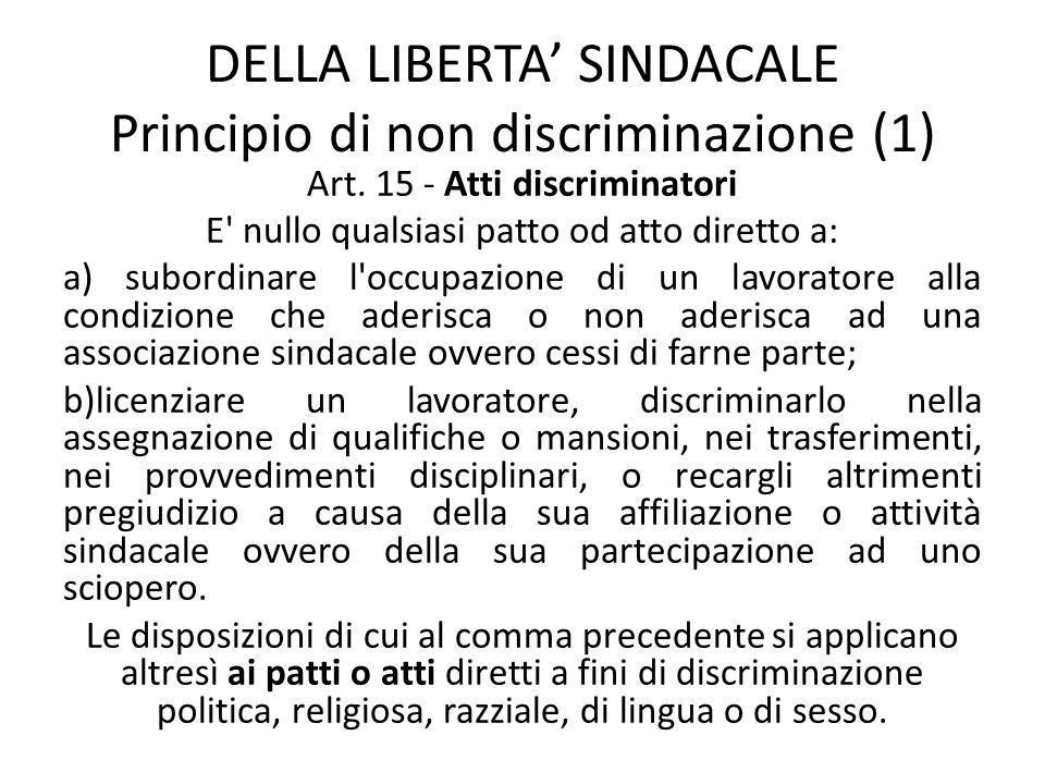 DELLA LIBERTA SINDACALE Principio di non discriminazione (1) Art. 15 - Atti discriminatori E' nullo qualsiasi patto od atto diretto a: a) subordinare