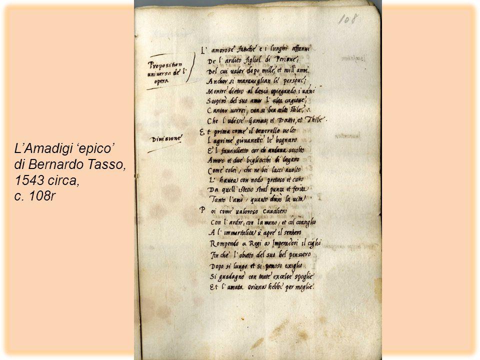 LAmadigi epico di Bernardo Tasso, 1543 circa, c. 108r