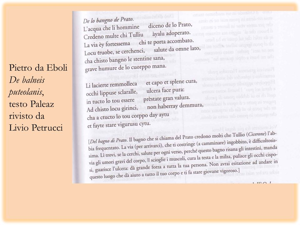Pietro da Eboli De balneis puteolanis, testo Paleaz rivisto da Livio Petrucci