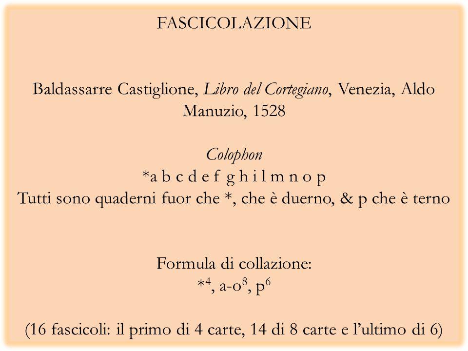 FASCICOLAZIONE Baldassarre Castiglione, Libro del Cortegiano, Venezia, Aldo Manuzio, 1528 Colophon *a b c d e f g h i l m n o p Tutti sono quaderni fu