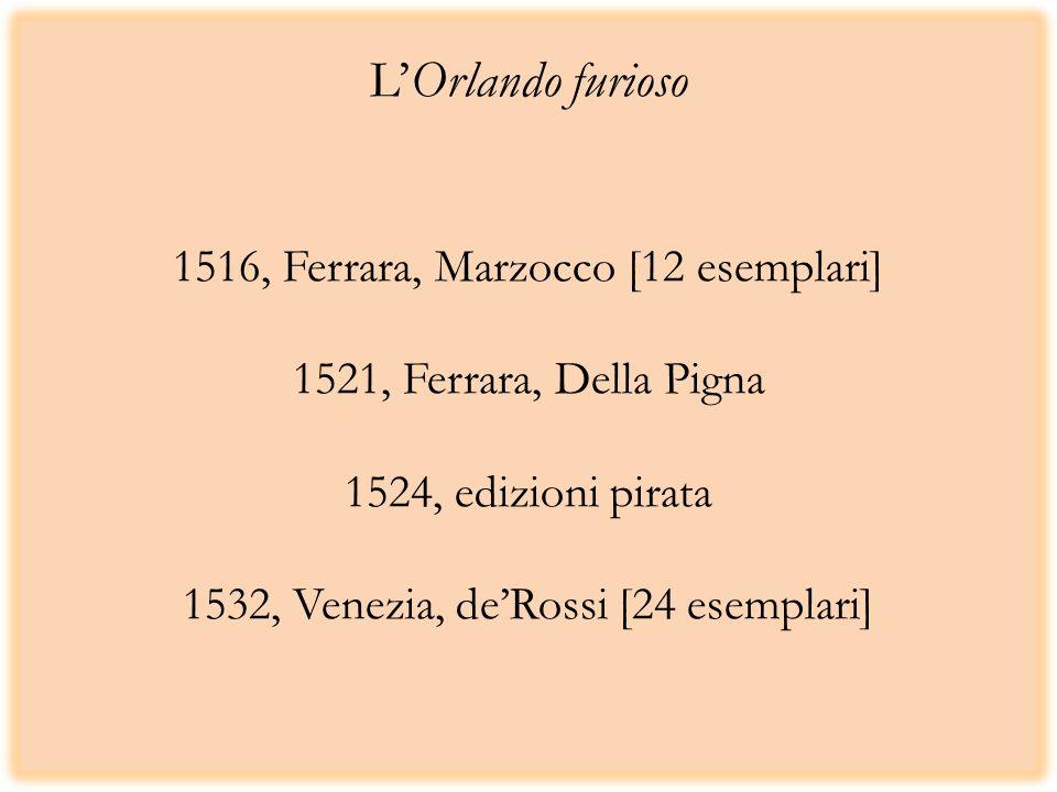 LOrlando furioso 1516, Ferrara, Marzocco [12 esemplari] 1521, Ferrara, Della Pigna 1524, edizioni pirata 1532, Venezia, deRossi [24 esemplari]
