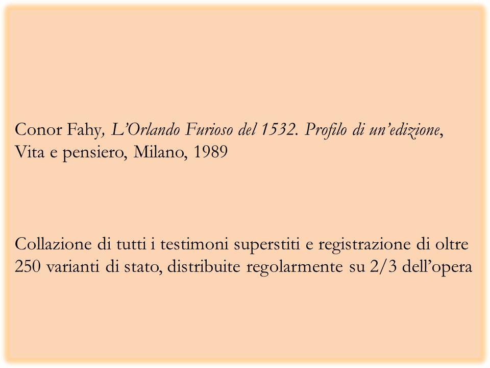 Conor Fahy, LOrlando Furioso del 1532. Profilo di unedizione, Vita e pensiero, Milano, 1989 Collazione di tutti i testimoni superstiti e registrazione