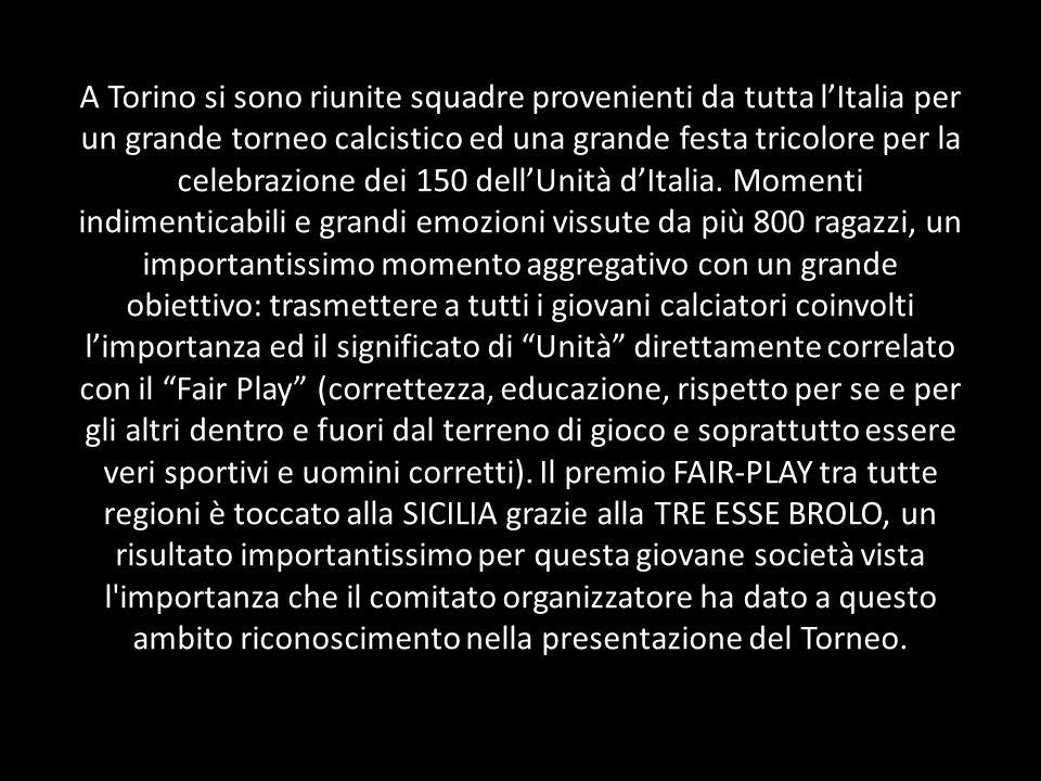 A Torino si sono riunite squadre provenienti da tutta lItalia per un grande torneo calcistico ed una grande festa tricolore per la celebrazione dei 150 dellUnità dItalia.
