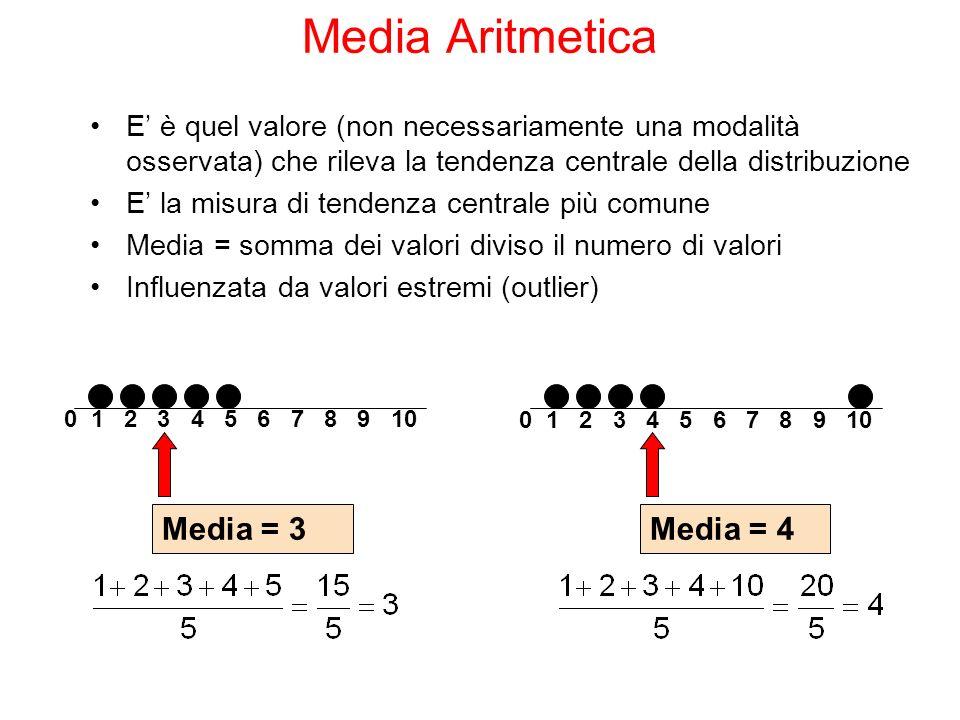 E è quel valore (non necessariamente una modalità osservata) che rileva la tendenza centrale della distribuzione E la misura di tendenza centrale più