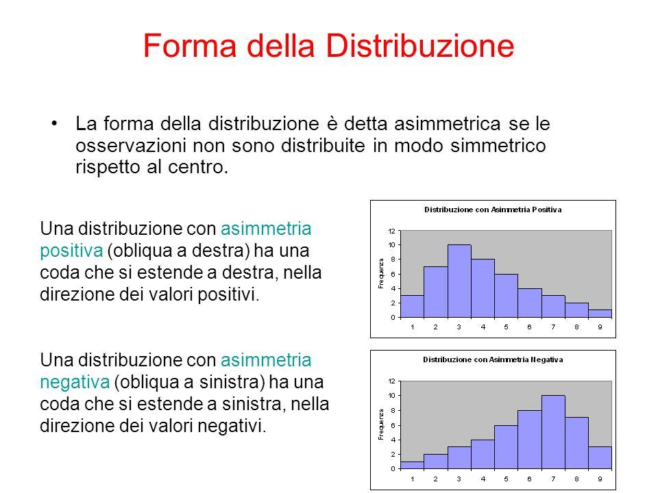 La forma della distribuzione è detta asimmetrica se le osservazioni non sono distribuite in modo simmetrico rispetto al centro. Una distribuzione con