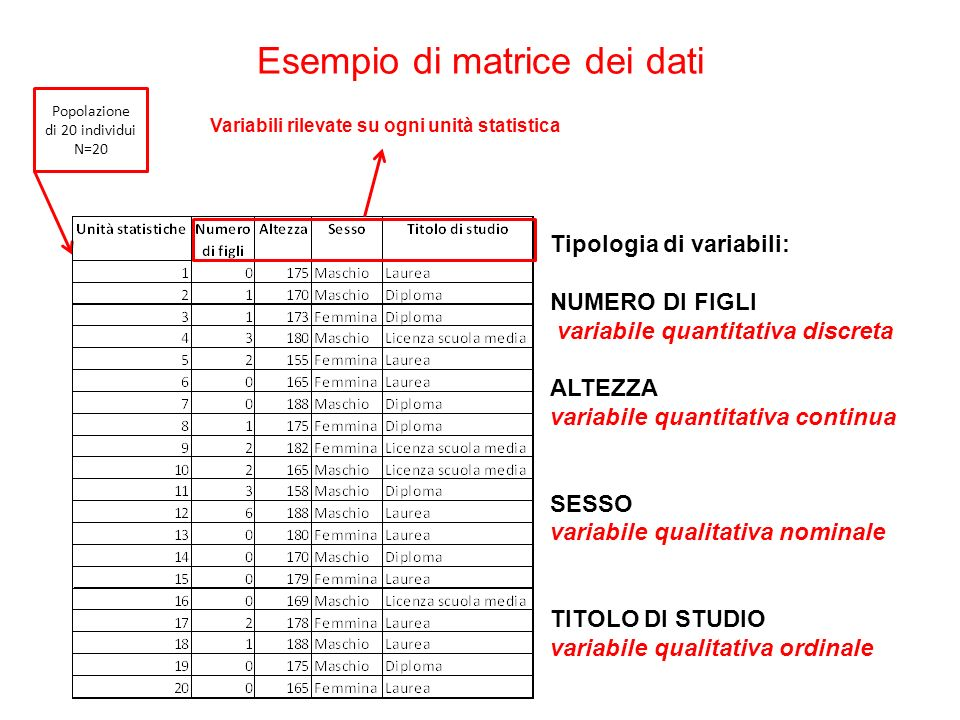 Esempio di matrice dei dati Popolazione di 20 individui N=20 Variabili rilevate su ogni unità statistica Tipologia di variabili: NUMERO DI FIGLI varia