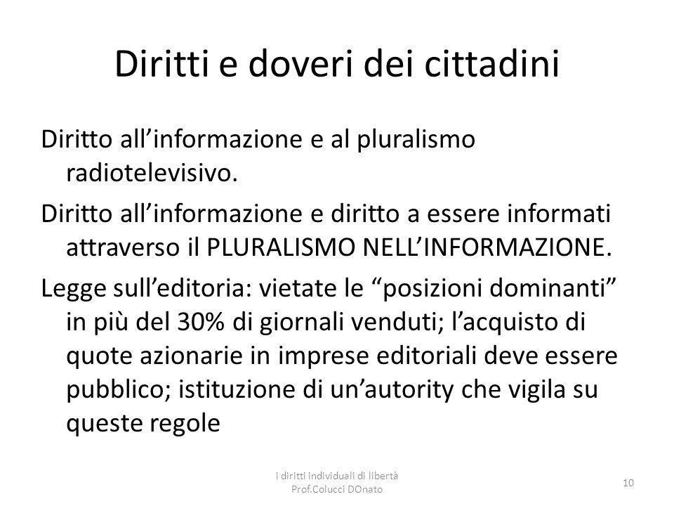 Diritti e doveri dei cittadini Diritto allinformazione e al pluralismo radiotelevisivo.