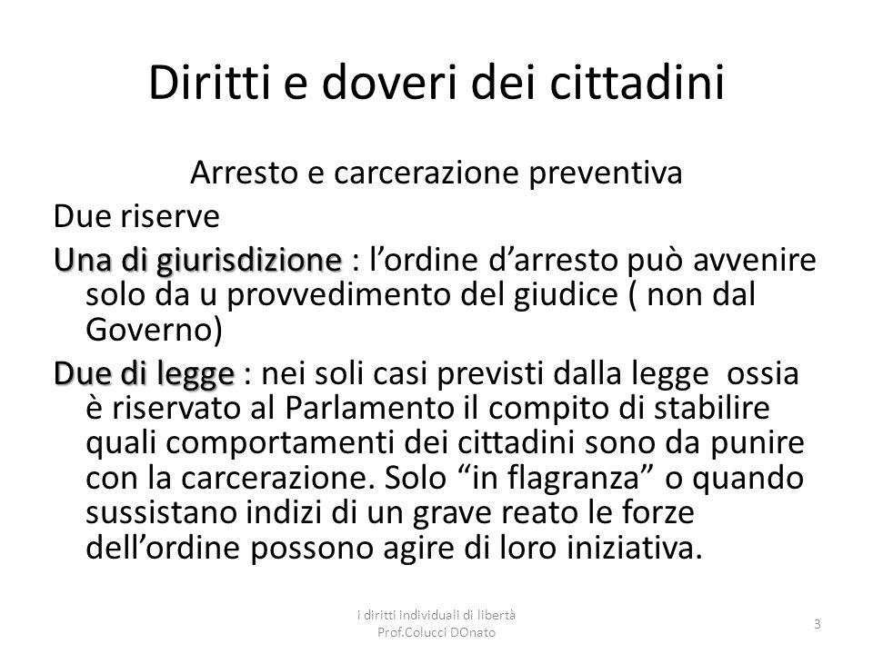 Diritti e doveri dei cittadini La convalida La convalida della carcerazione deve avvenire entro le 48 ore successive al provvedimento provvisorio.