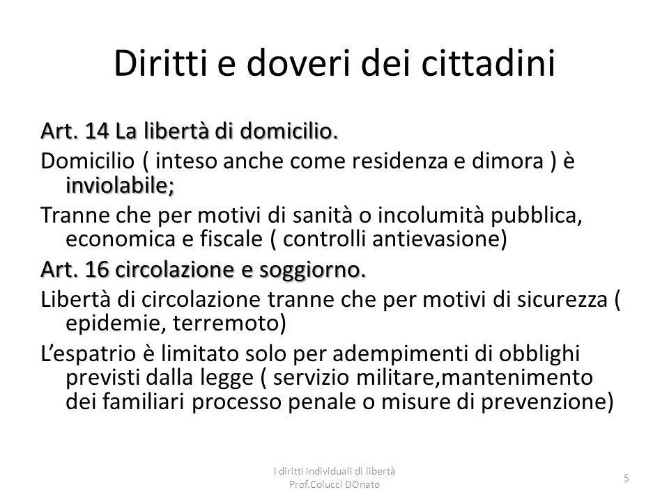 Diritti e doveri dei cittadini Art.14 La libertà di domicilio.