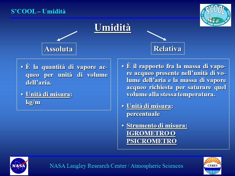 10 SCOOL – Umidità NASA Langley Research Center / Atmospheric Sciences Umidità Assoluta È la quantità di vapore ac- queo per unità di volume dellaria.È la quantità di vapore ac- queo per unità di volume dellaria.