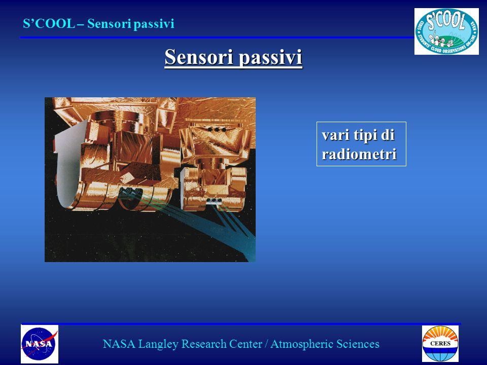 14 SCOOL – Sensori passivi NASA Langley Research Center / Atmospheric Sciences Sensori passivi vari tipi di radiometri