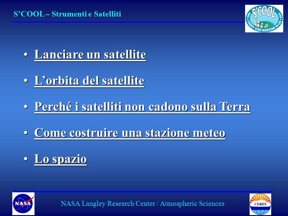 19 Lanciare un satelliteLanciare un satelliteLanciare un satelliteLanciare un satellite Lorbita del satelliteLorbita del satelliteLorbita del satelliteLorbita del satellite Perché i satelliti non cadono sulla TerraPerché i satelliti non cadono sulla TerraPerché i satelliti non cadono sulla TerraPerché i satelliti non cadono sulla Terra Come costruire una stazione meteoCome costruire una stazione meteoCome costruire una stazione meteoCome costruire una stazione meteo Lo spazioLo spazioLo spazioLo spazio SCOOL – Strumenti e Satelliti NASA Langley Research Center / Atmospheric Sciences