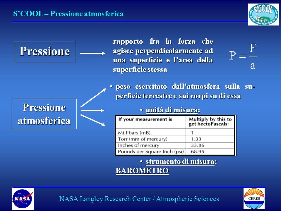 8 SCOOL – Pressione atmosferica NASA Langley Research Center / Atmospheric Sciences Pressione rapporto fra la forza che agisce perpendicolarmente ad una superficie e larea della superficie stessa Pressione atmosferica peso esercitato dallatmosfera sulla su- perficie terrestre e sui corpi su di essapeso esercitato dallatmosfera sulla su- perficie terrestre e sui corpi su di essa unità di misura:unità di misura: strumento di misura: BAROMETROstrumento di misura: BAROMETRO BAROMETRO