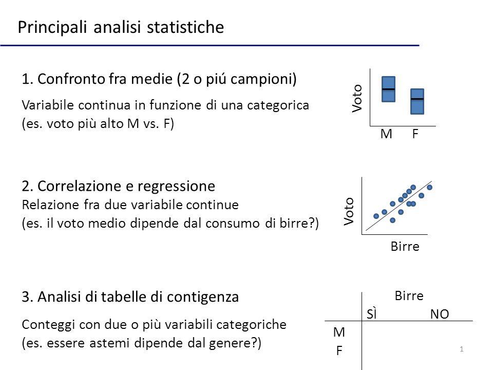 1 Principali analisi statistiche 1. Confronto fra medie (2 o piú campioni) 2. Correlazione e regressione 3. Analisi di tabelle di contigenza Variabile