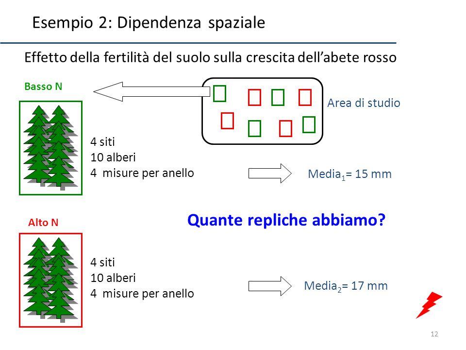12 Basso N Alto N 4 siti 10 alberi 4 misure per anello Effetto della fertilità del suolo sulla crescita dellabete rosso Media 1 = 15 mm Media 2 = 17 m