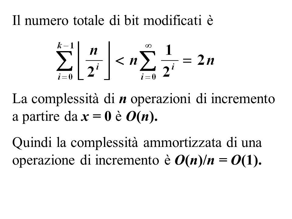 Il numero totale di bit modificati è La complessità di n operazioni di incremento a partire da x = 0 è O(n). Quindi la complessità ammortizzata di una