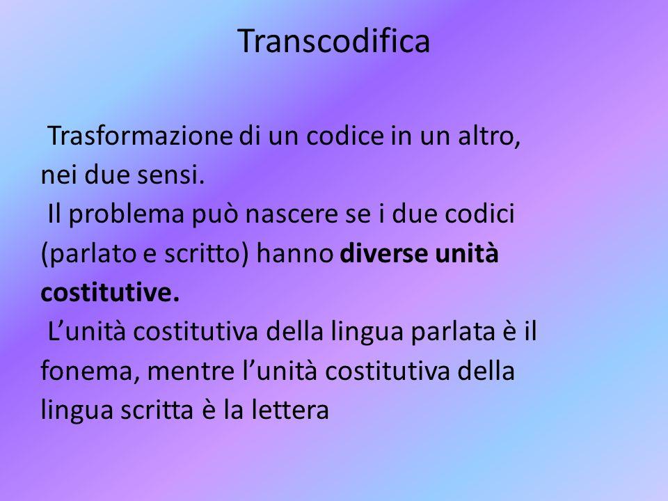 Transcodifica Trasformazione di un codice in un altro, nei due sensi. Il problema può nascere se i due codici (parlato e scritto) hanno diverse unità