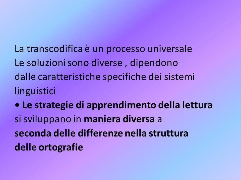 La transcodifica è un processo universale Le soluzioni sono diverse, dipendono dalle caratteristiche specifiche dei sistemi linguistici Le strategie d