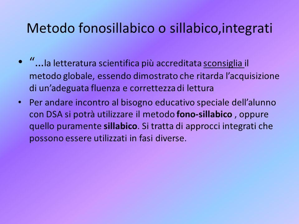 Metodo fonosillabico o sillabico,integrati … la letteratura scientifica più accreditata sconsiglia il metodo globale, essendo dimostrato che ritarda l