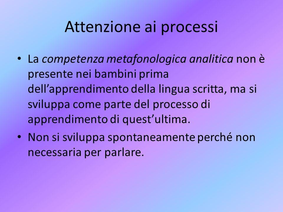 Attenzione ai processi La competenza metafonologica analitica non è presente nei bambini prima dellapprendimento della lingua scritta, ma si sviluppa