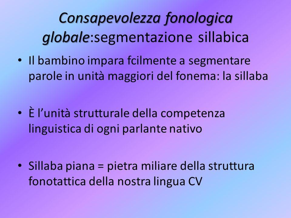 Consapevolezza fonologica globale Consapevolezza fonologica globale:segmentazione sillabica Il bambino impara fcilmente a segmentare parole in unità m