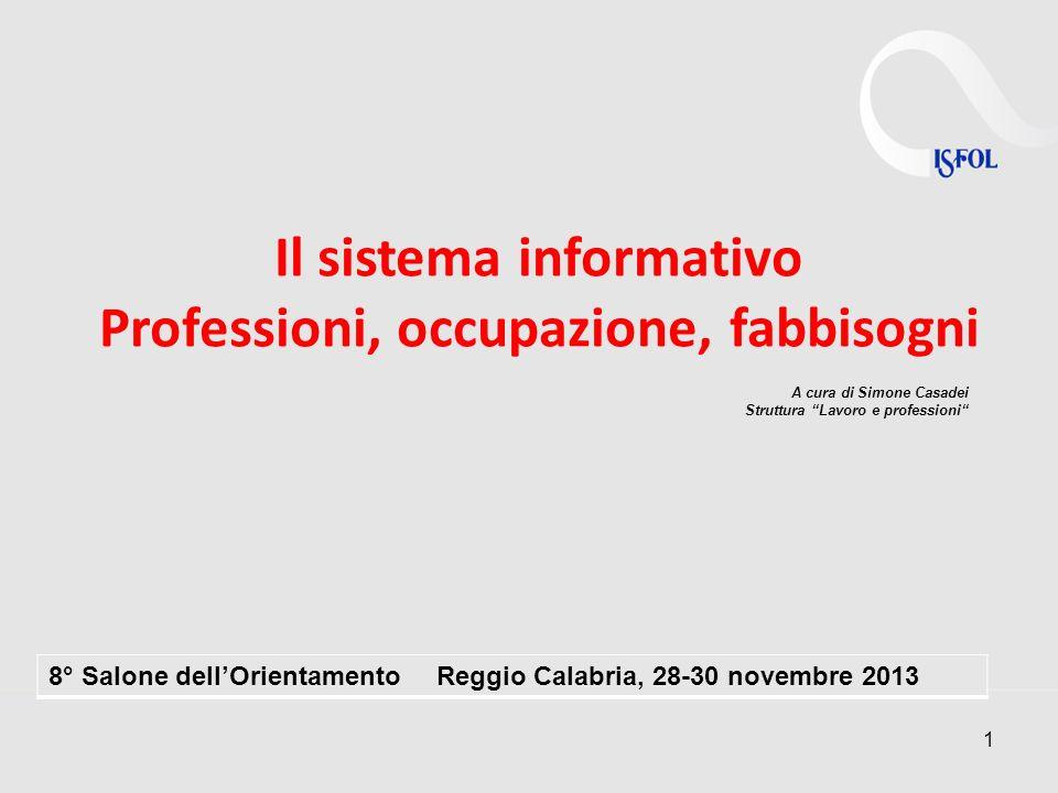 1 Il sistema informativo Professioni, occupazione, fabbisogni A cura di Simone Casadei Struttura Lavoro e professioni 8° Salone dellOrientamento Reggi