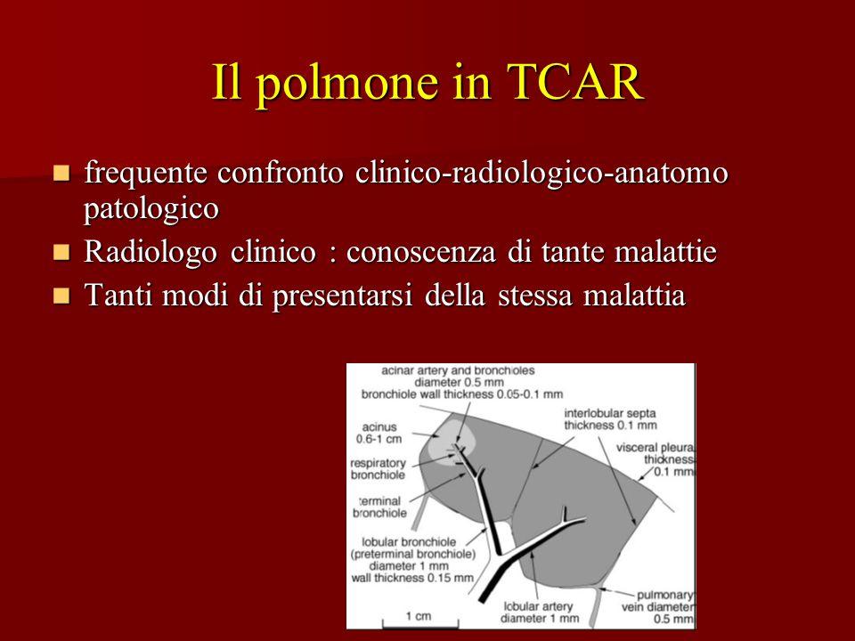 Il polmone in TCAR frequente confronto clinico-radiologico-anatomo patologico frequente confronto clinico-radiologico-anatomo patologico Radiologo cli