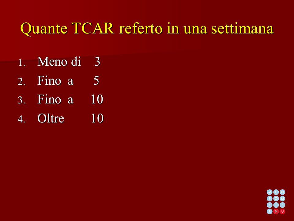 Quante TCAR referto in una settimana 1. Meno di 3 2. Fino a 5 3. Fino a 10 4. Oltre 10