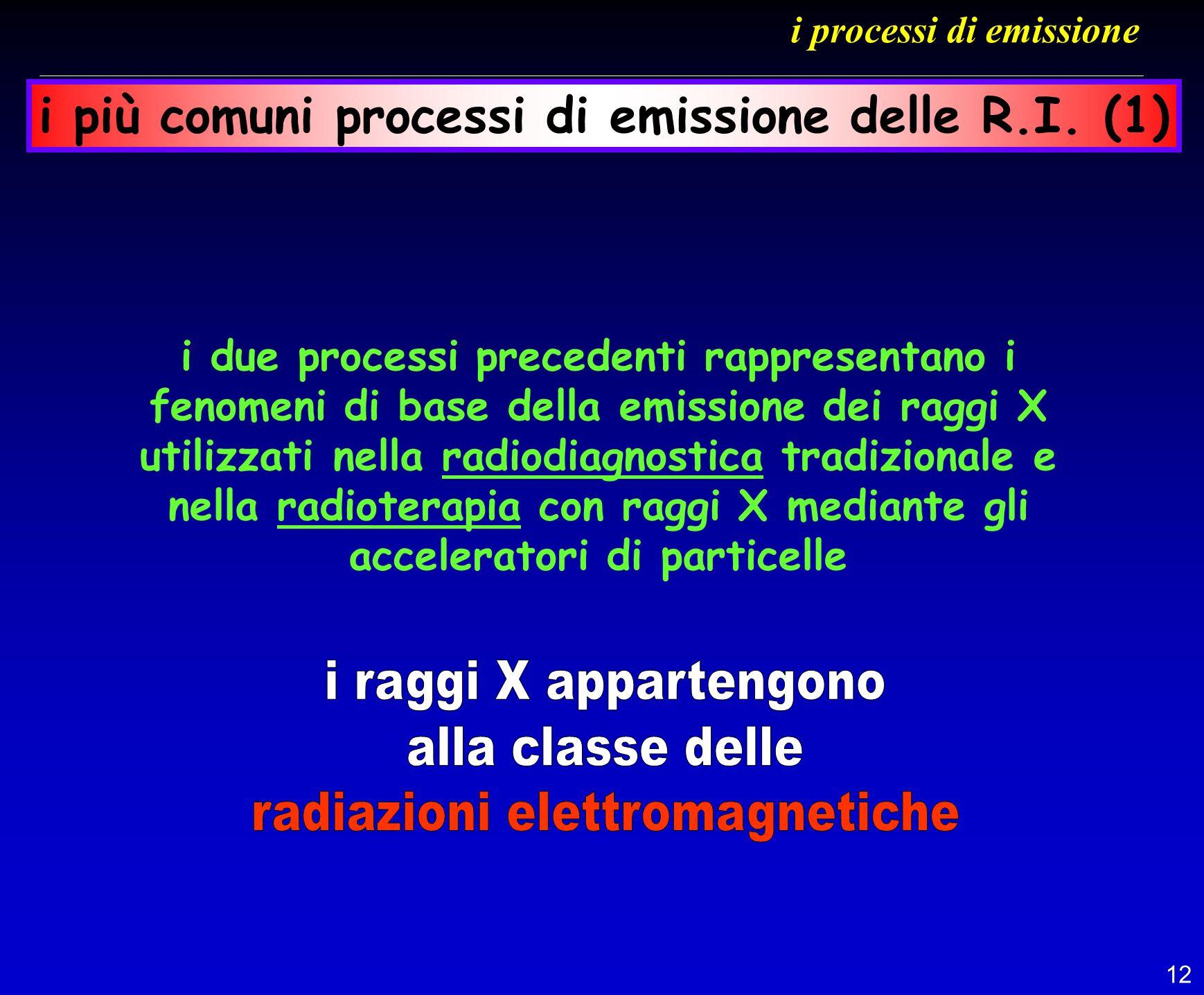 12 i processi di emissione i due processi precedenti rappresentano i fenomeni di base della emissione dei raggi X utilizzati nella radiodiagnostica tr