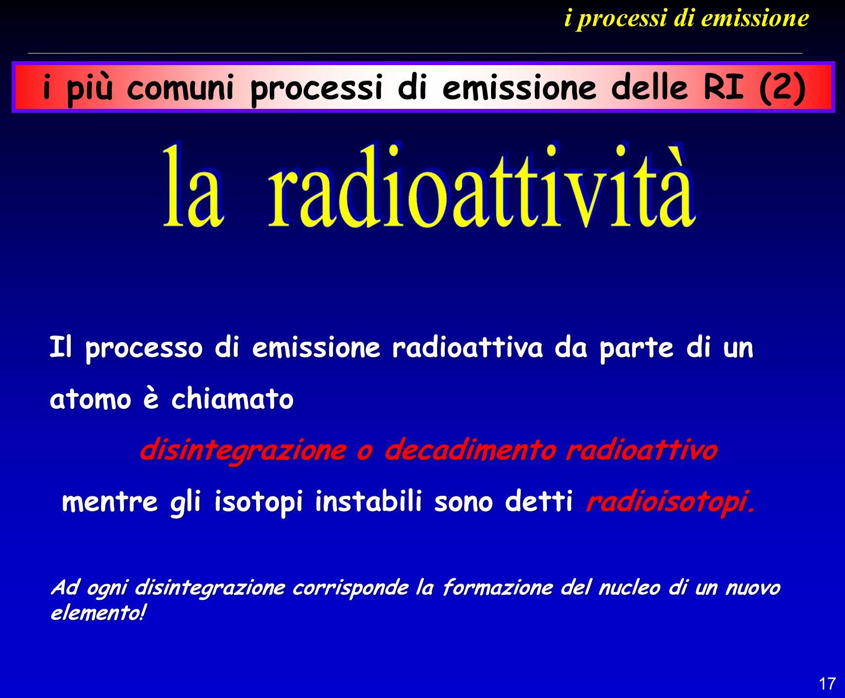 17 Il processo di emissione radioattiva da parte di un atomo è chiamato disintegrazione o decadimento radioattivo disintegrazione o decadimento radioa