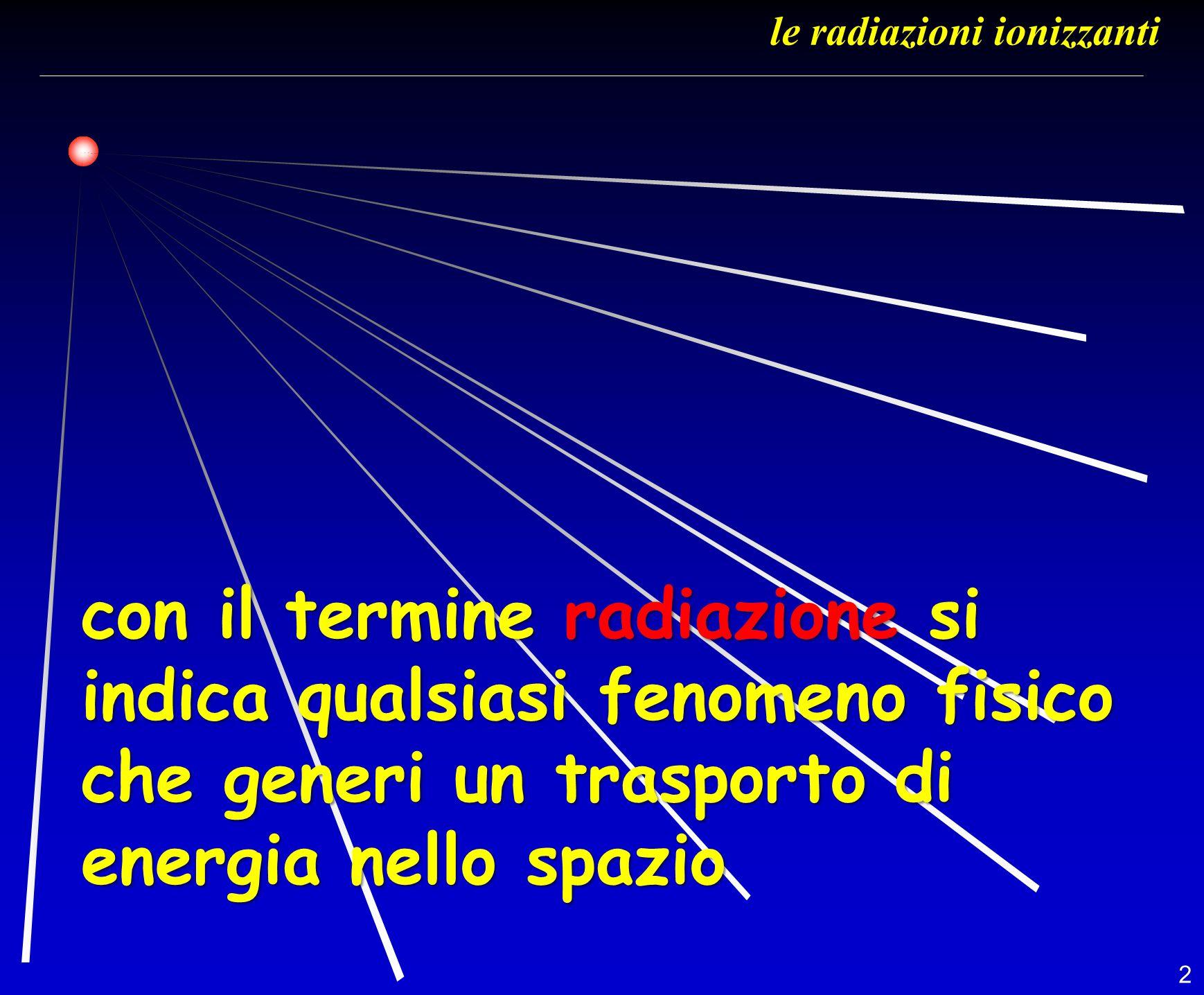 3 Il termine RADIAZIONE viene utilizzato in fisca per descrivere: Luce visibile di una lampadina Luce visibile di una lampadina Onde radio Onde radio Luce ultravioletta Luce ultravioletta Emissione infrarossa di un corpo incandescente Emissione infrarossa di un corpo incandescente Raggi X prodotti da un generatore Raggi X prodotti da un generatore ecc… ecc… le radiazioni ionizzanti