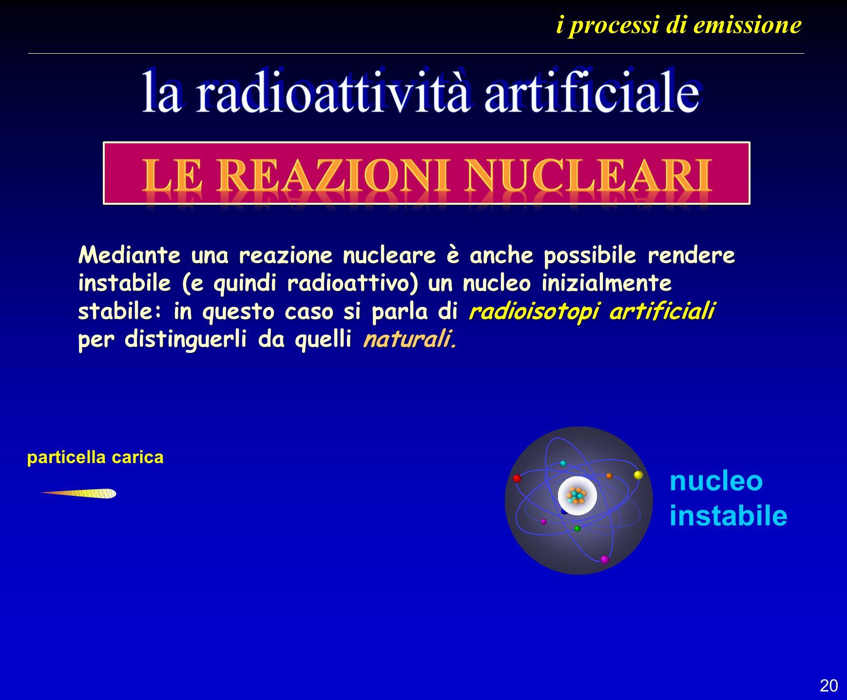20 i processi di emissione particella carica nucleo instabile Mediante una reazione nucleare è anche possibile rendere instabile (e quindi radioattivo
