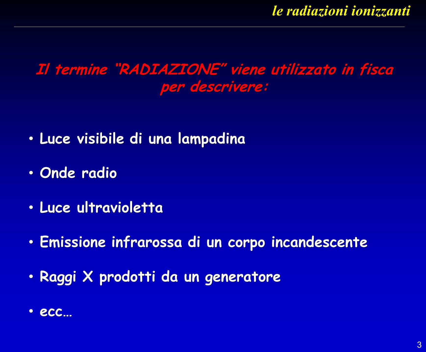 3 Il termine RADIAZIONE viene utilizzato in fisca per descrivere: Luce visibile di una lampadina Luce visibile di una lampadina Onde radio Onde radio