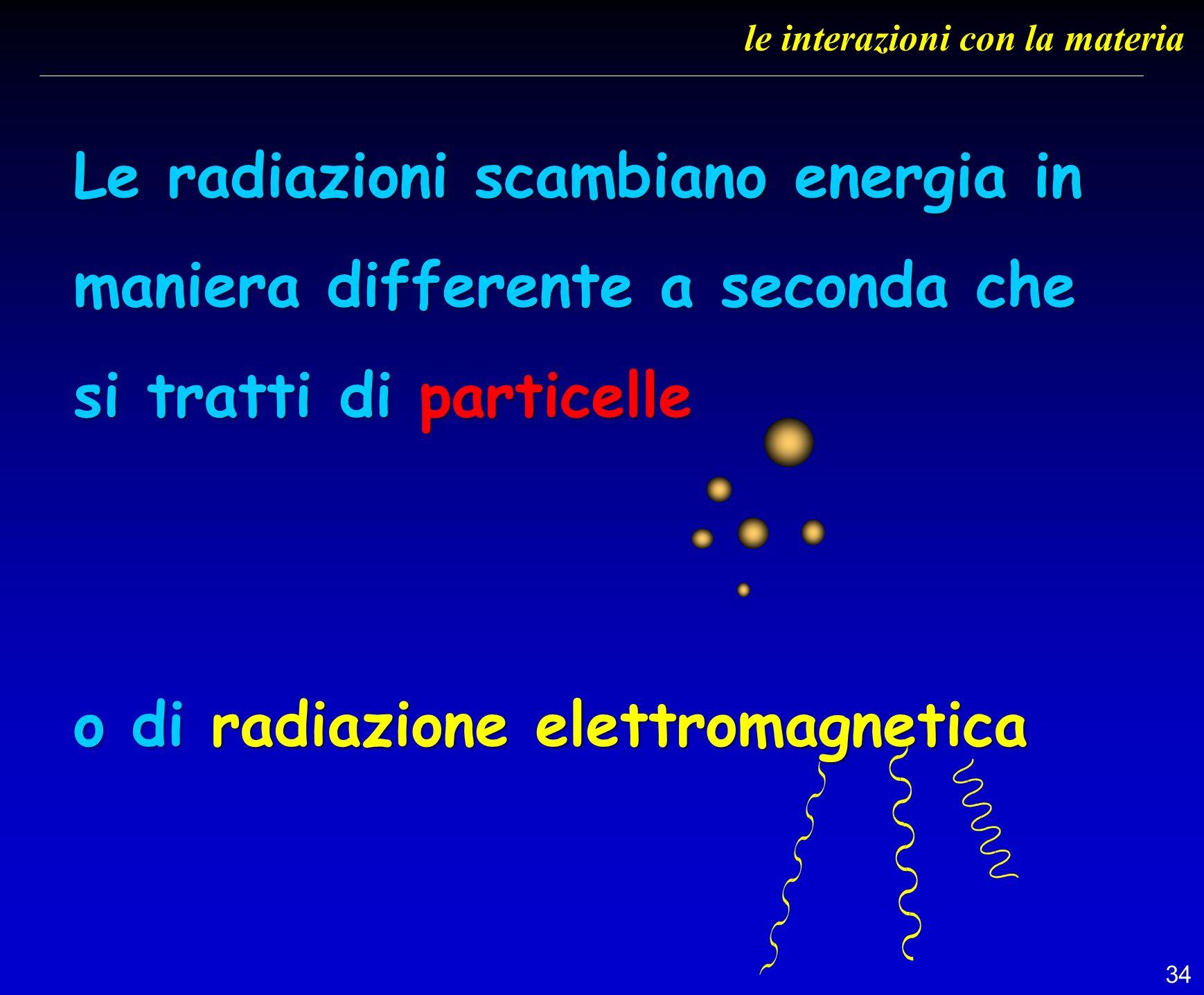 34 le interazioni con la materia Le radiazioni scambiano energia in maniera differente a seconda che si tratti di particelle o di radiazione elettroma