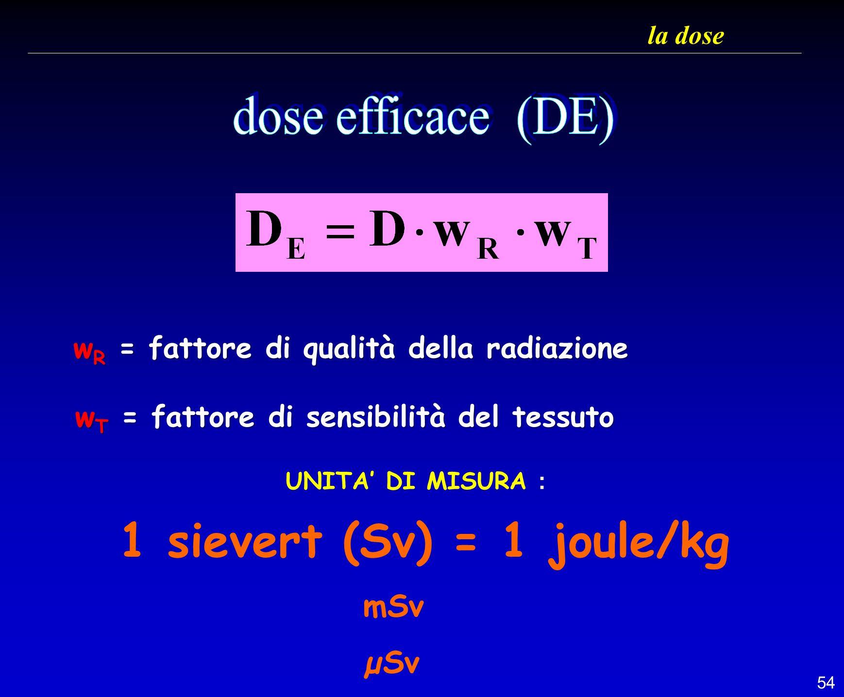 54 la dose UNITA DI MISURA : 1 sievert (Sv) = 1 joule/kg mSv µSv w R = fattore di qualità della radiazione w R = fattore di qualità della radiazione w