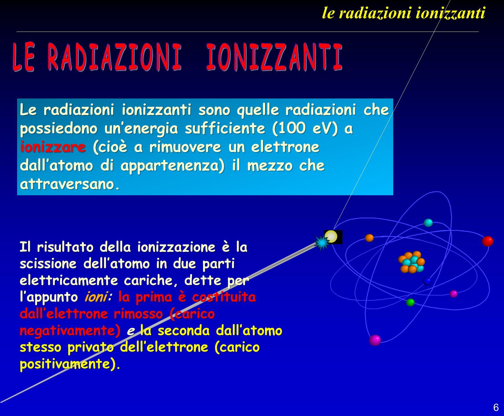 6 Le radiazioni ionizzanti sono quelle radiazioni che possiedono unenergia sufficiente (100 eV) a ionizzare (cioè a rimuovere un elettrone dallatomo d