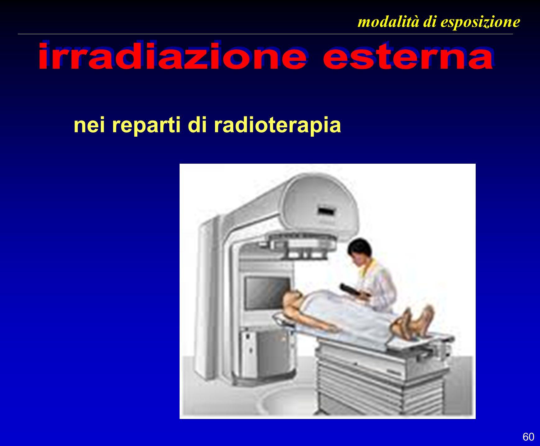 60 modalità di esposizione nei reparti di radioterapia