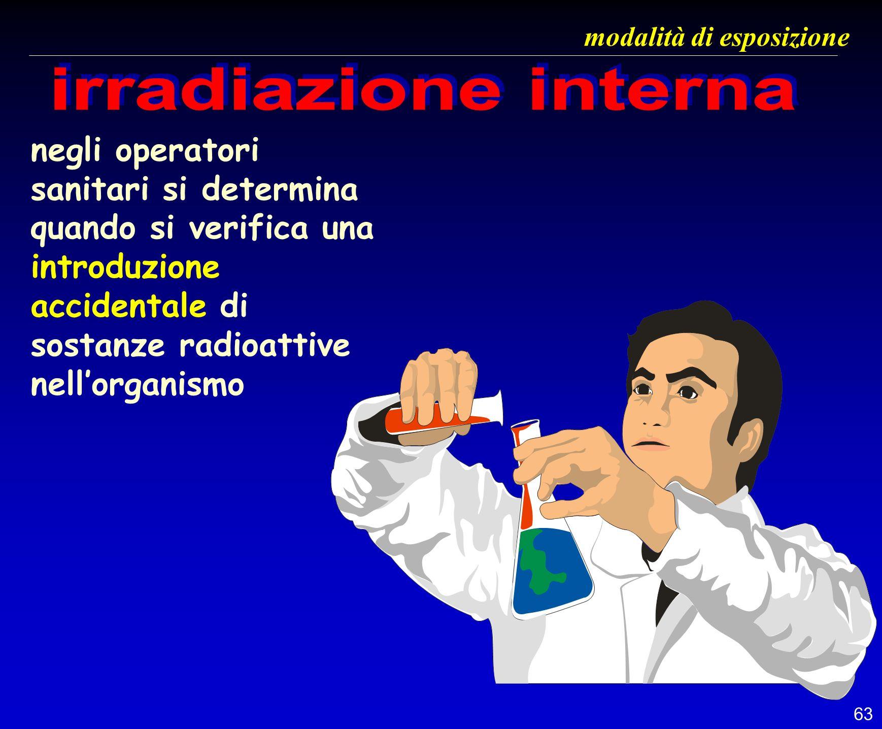 63 negli operatori sanitari si determina quando si verifica una introduzione accidentale di sostanze radioattive nellorganismo modalità di esposizione