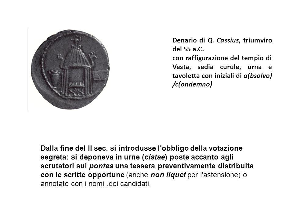 Denario di Q.Cassius, triumviro del 55 a.C.