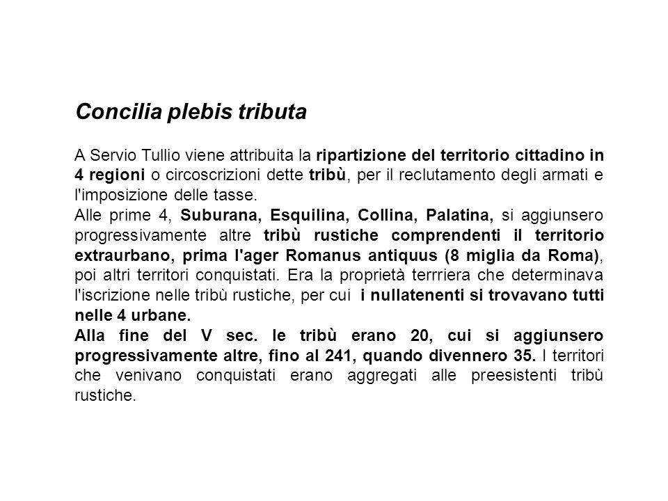 Concilia plebis tributa A Servio Tullio viene attribuita la ripartizione del territorio cittadino in 4 regioni o circoscrizioni dette tribù, per il reclutamento degli armati e l imposizione delle tasse.
