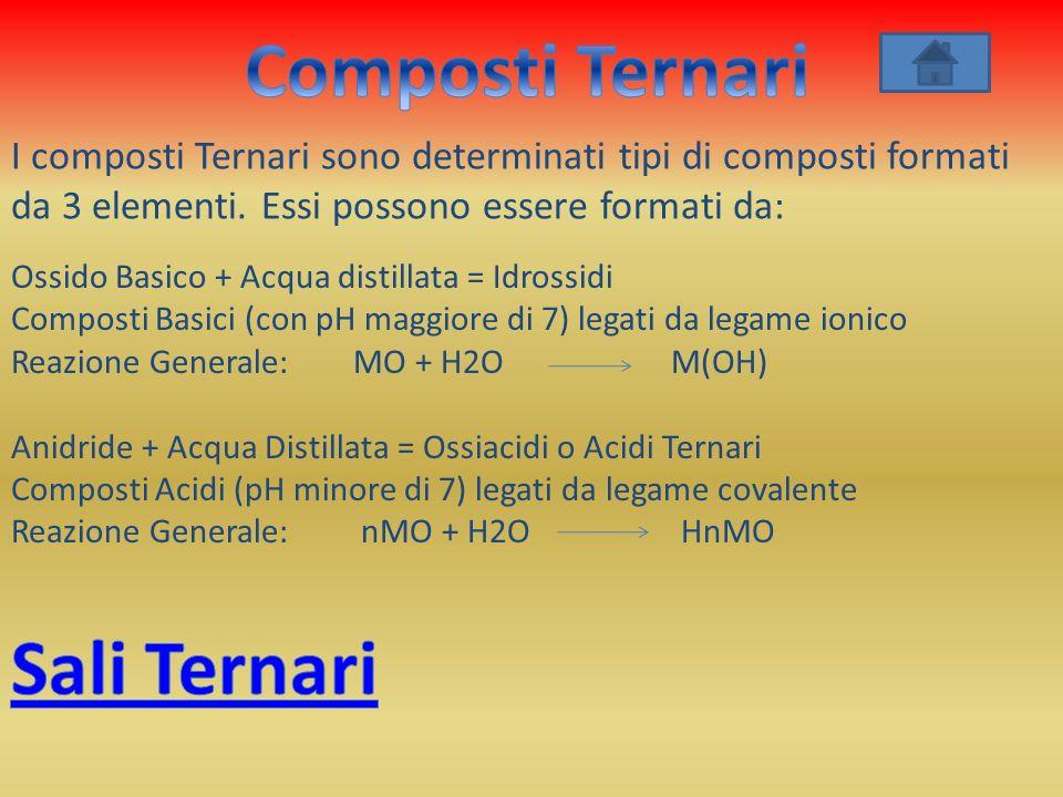 I composti Ternari sono determinati tipi di composti formati da 3 elementi. Essi possono essere formati da: Ossido Basico + Acqua distillata = Idrossi